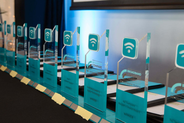 The Broadband Awards trophies lined up